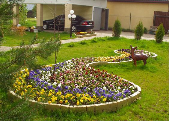 Клумбы и цветники в саду в Одессе