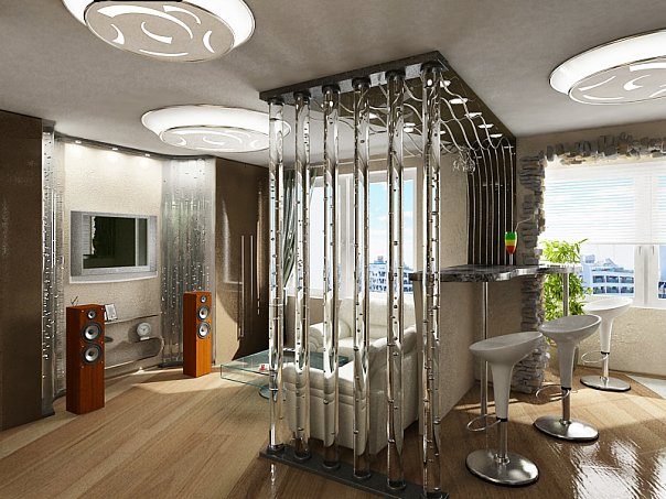 Воздушно-пузырьковые панели и колонны в интерьере