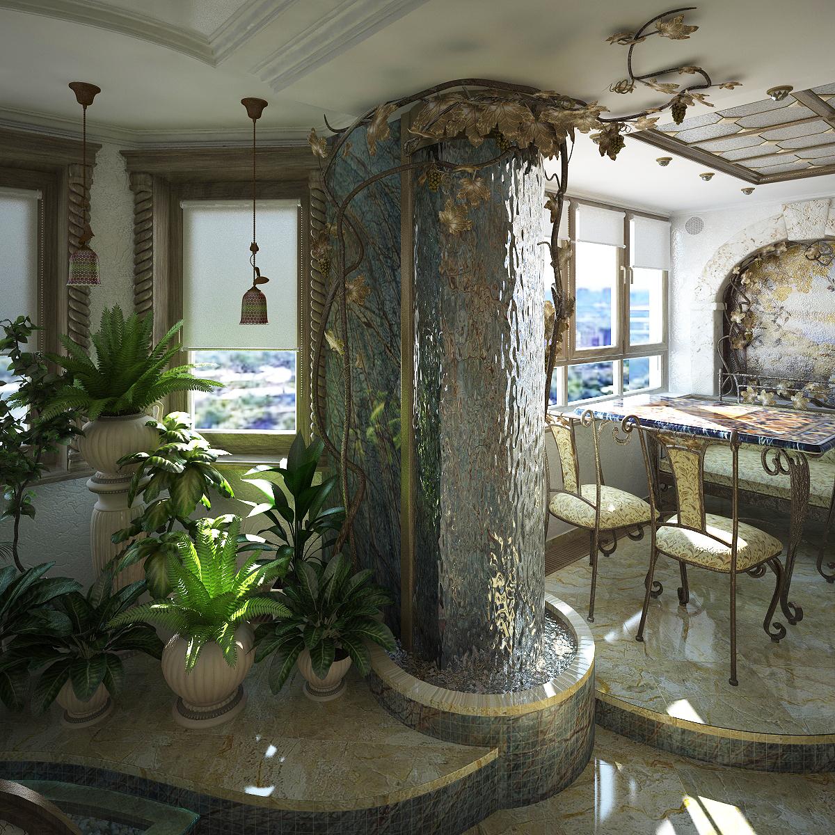 Декоративные фонтаны и водопады в дизайне интерьеров в Одессе