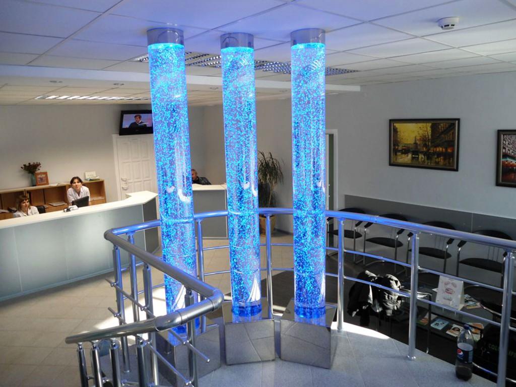 Пузырьковые колонны в интерьере помещений