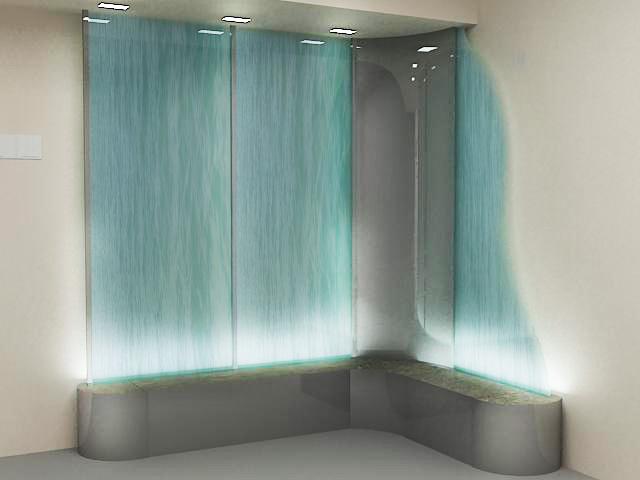 Искусственные водопады по стеклу