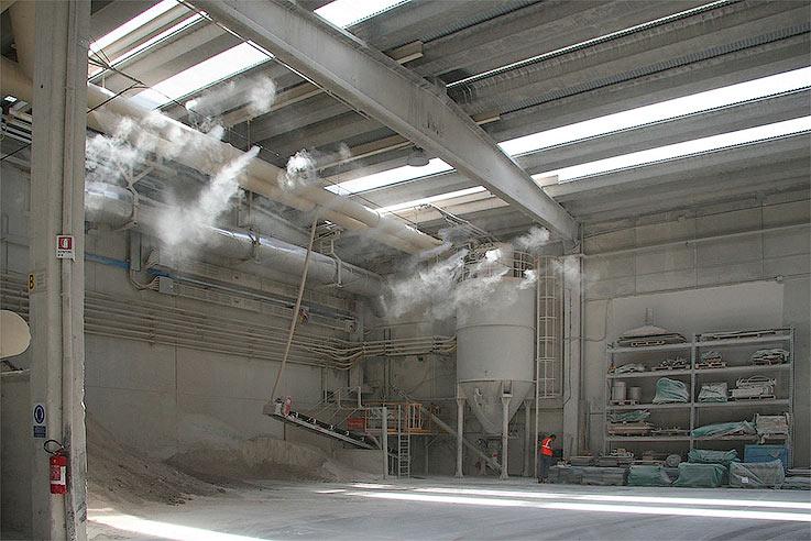 Подавление пыли с помощью системы туманообразования
